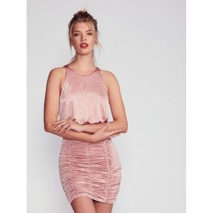 Free People Rose Pink Ruched Mini Bodycon Dress